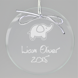 Elephant Keepsake Ornament - Circle - Click to see larger image